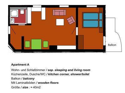 Grundriss Ferienwohnung A - Oberammergau Hotel Fux