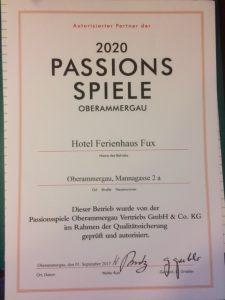 Passionplay oberammergau Hotel Fux partner confirmation