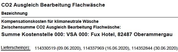 Klimaneutrale Wäsche - Hotel Fux Oberammergau