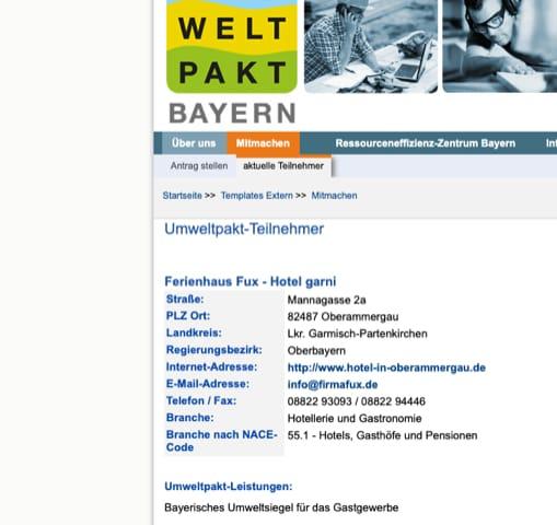 Umweltpakt Bayern - Hotel Fux Oberammergau